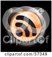 Clipart Illustration Of A Shiny Orange RSS Button Icon