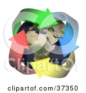 Clipart Illustration Of Four Colorful Arrows Around Earth by Frog974 #COLLC37350-0066