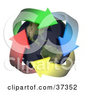 Clipart Illustration Of Four Colorful Arrows Embracing Earth With The Americas Featured by Frog974 #COLLC37352-0066
