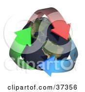 Clipart Illustration Of Three Colorful Arrows Embracing Earth With The Americas Featured by Frog974 #COLLC37356-0066