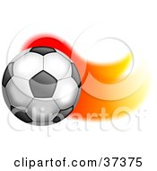 Clipart Illustration Of A Soccer Ball With A Trail Of Flames