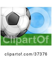 Clipart Illustration Of A Soccer Ball Resting On Green Grass On A Sunny Day