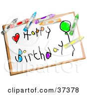 Clipart Illustration Of A Childs Happy Birthday Drawing Drawing