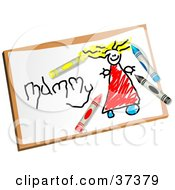 Clipart Illustration Of Crayons On A Childs Drawing Of A Mother by Prawny
