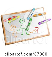 Colorful Crayons On A Childs Drawing Of A Stick Person