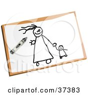 Clipart Illustration Of A Childs Drawing Of A Mother And Child Holding Hands by Prawny