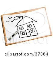 Clipart Illustration Of A Childs Drawing Of A Home With A Chimney by Prawny
