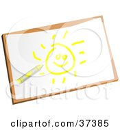 Clipart Illustration Of A Childs Drawing Of A Yellow Sun by Prawny
