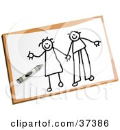 Childs Drawing Of A Happy Stick Couple Holding Hands
