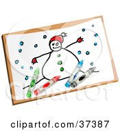 Clipart Illustration Of A Childs Drawing Of A Snowman by Prawny