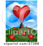 Clipart Illustration Of A Red Heart Tree With Fallen Hearts On The Ground by Prawny