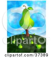 Clipart Illustration Of A Giant Pear On A Tree With Fallen Fruit On The Ground On Top Of A Hill Against A Sky