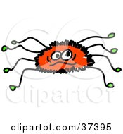 Clipart Illustration Of A Furry Red Spider