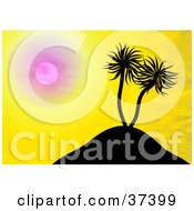 Clipart Illustration Of Palm Trees On A Hill Silhouetted Against A Yellow Sunset