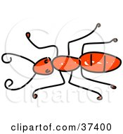 Clipart Illustration Of A Lone Red Ant by Prawny