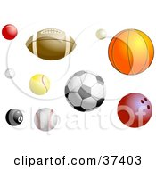 Clipart Illustration Of Different Sports Balls by Prawny