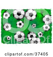 Clipart Illustration Of A Background Of Soccer Balls On Green Bordered In White by Prawny