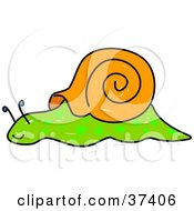 Slow Green And Brown Snail