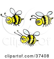 Clipart Illustration Of Three Happy Honeybees by Prawny