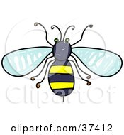 Clipart Illustration Of An Aerial View Of A Honey Bee by Prawny