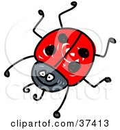 Clipart Illustration Of A Happy Red Ladybug by Prawny