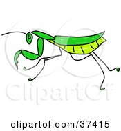 Clipart Illustration Of A Green Praying Mantis In Profile by Prawny
