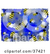 Clipart Illustration Of A Background Of Honey Bees On Blue by Prawny