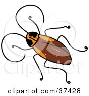 Clipart Illustration Of A Brown Cockroach With Long Antennae by Prawny