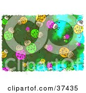 Clipart Illustration Of A Background Of Green Pink And Yellow Beetles On Green