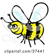 Clipart Illustration Of A Happy Yellow And Black Honeybee
