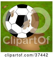 Clipart Illustration Of A Soccer Ball In A Mud Puddle