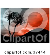 Clipart Illustration Of Palm Trees On A Hill Silhouetted Against A Red Sunset