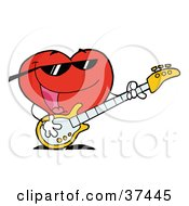 Clipart Illustration Of A Romantic Red Heart Man Playing A Guitar And Singing by Hit Toon