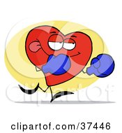 Clipart Illustration Of A Boxing Red Heart Character Wearing Blue Gloves by Hit Toon