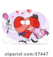 Clipart Illustration Of A Romantic Heart Guy Carrying A Pink Rose And Chocolates