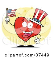 Clipart Illustration Of A Patriotic American Heart Character In A Hat Flag On Independence Day by Hit Toon
