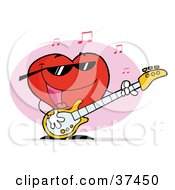 Clipart Illustration Of A Sweet Red Heart Guy Playing A Guitar And Singing