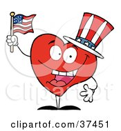 Clipart Illustration Of A Happy Red Heart Character In A Patriotic Hat Waving An American Flag