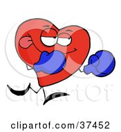 Red Heart Boxer In Blue Gloves by Hit Toon