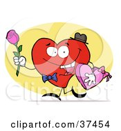 Clipart Illustration Of A Red Heart Man Carrying A Box Of Valentines Day Chocolate And A Pink Rose