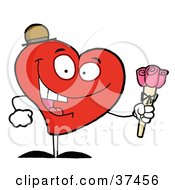 Happy Red Heart Man In A Hat Holding Three Pink Roses by Hit Toon