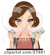 Happy Waitress Or Restaurant Owner Holding Up Cash And A Coin Purse For Her Earned Tips