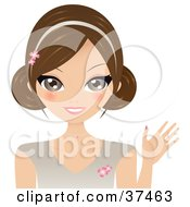 Clipart Illustration Of A Pretty Brunette Lady Wearing A Floral Headband Smiling And Waving