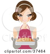 Clipart Illustration Of A Pretty Female Chef Holding Out Fresh French Bread In A Dish by Melisende Vector #COLLC37464-0068