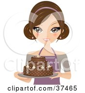 Clipart Illustration Of A Pretty Female Cake Baker Presenting A Beautiful Chocolate Cake On A Platter