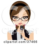 Clipart Illustration Of A Professional Brunette Woman Speaking Into A Microphone
