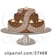 Clipart Illustration Of A Delicious Chocolate Cake With Three Tiers And Frosting Designs