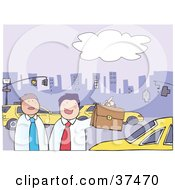 Clipart Illustration Of Two Businessmen In A City On A Busy Street With Taxi Cabs And A Skyline In The Background