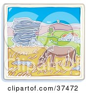 Clipart Illustration Of A Horse Grazing On Grasses Near A Home With Rolling Hills In The Background