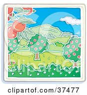 Clipart Illustration Of An Apple Tree Orchard Growing Red Fruits With Mountains In The Distance